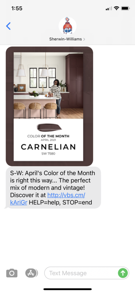 Sherwin Williams Text Message Marketing Example - 04.02.2021