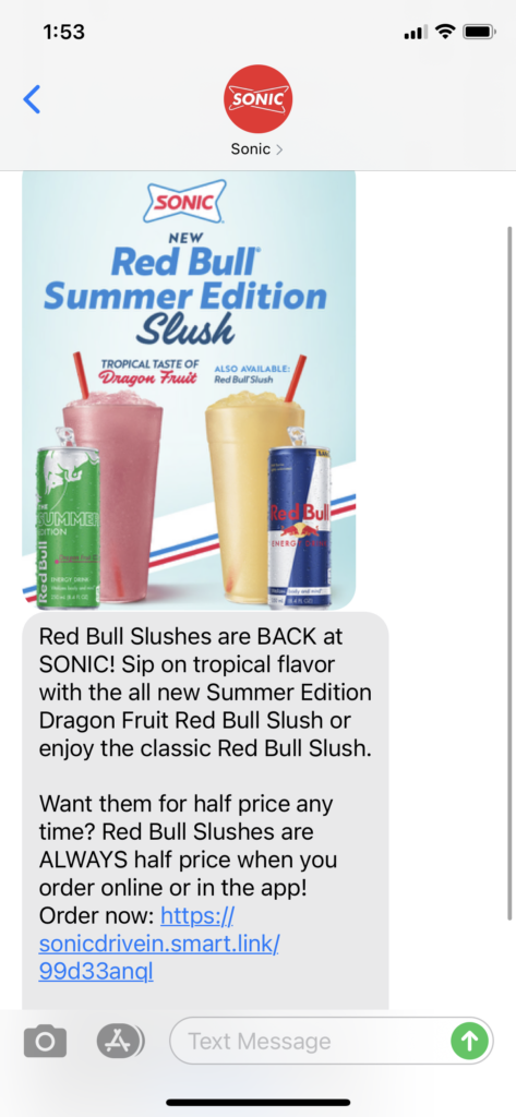 Sonic Text Message Marketing Example - 04.02.2021