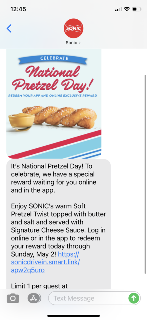 Sonic Text Message Marketing Example - 04.26.2021