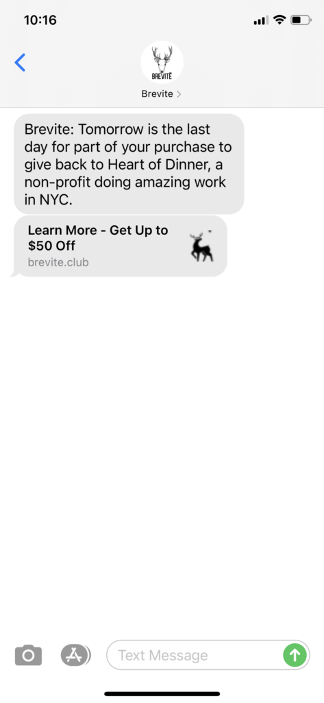 Brevite Text Message Marketing Example - 04.29.2021