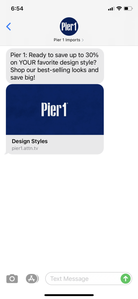 Pier 1 Text Message Marketing Example - 05.26.2021
