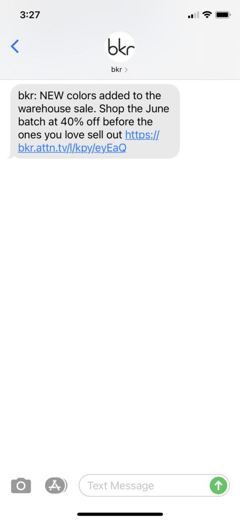 bkr Text Message Marketing Example - 06.01.2021