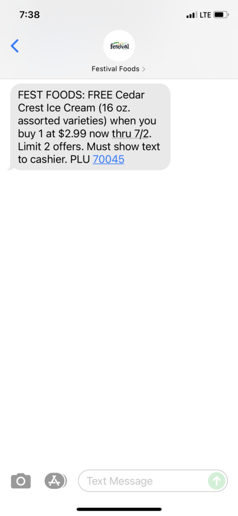 Festival Foods Text Message Marketing Example - 07.01.2021