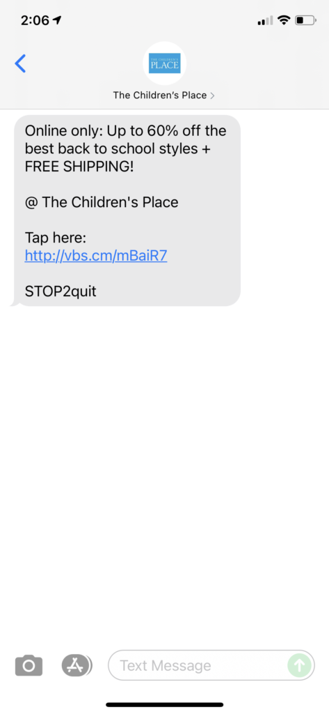 The Children's Place Text Message Marketing Example - 07.13.2021