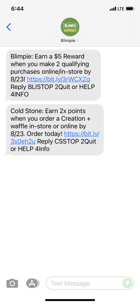 Blimpie Text Message Marketing Example - 08.10.2021
