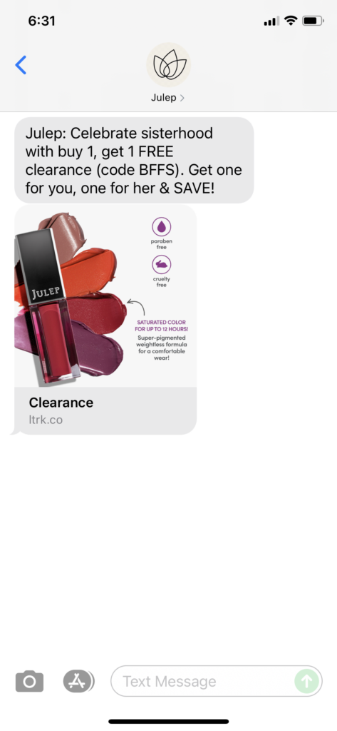 Julep Text Message Marketing Example - 08.01.2021