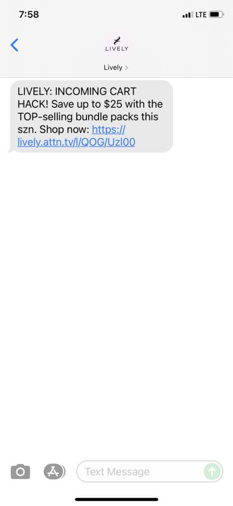 Lively Text Message Marketing Example - 08.26.2021