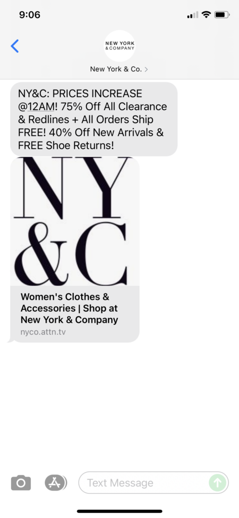 New York & Co Text Message Marketing Example - 08.29.2021
