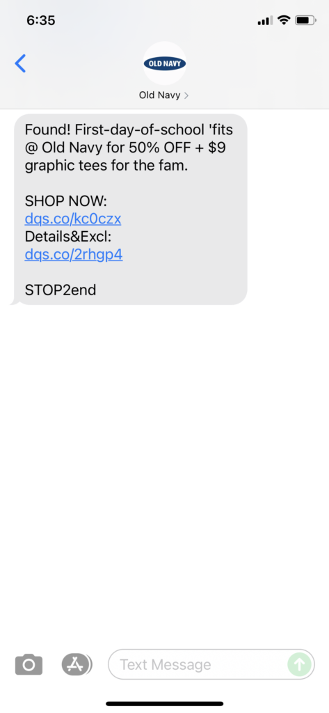 Old Navy Text Message Marketing Example - 08.01.2021