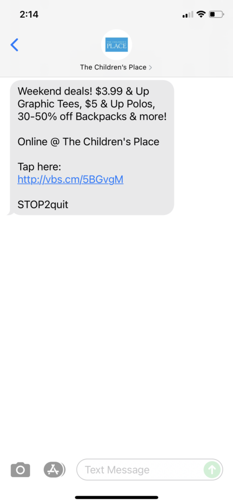 The Children's Place Text Message Marketing Example - 08.07.2021
