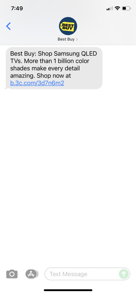 Best Buy 1 Text Message Marketing Example - 09.22.2021