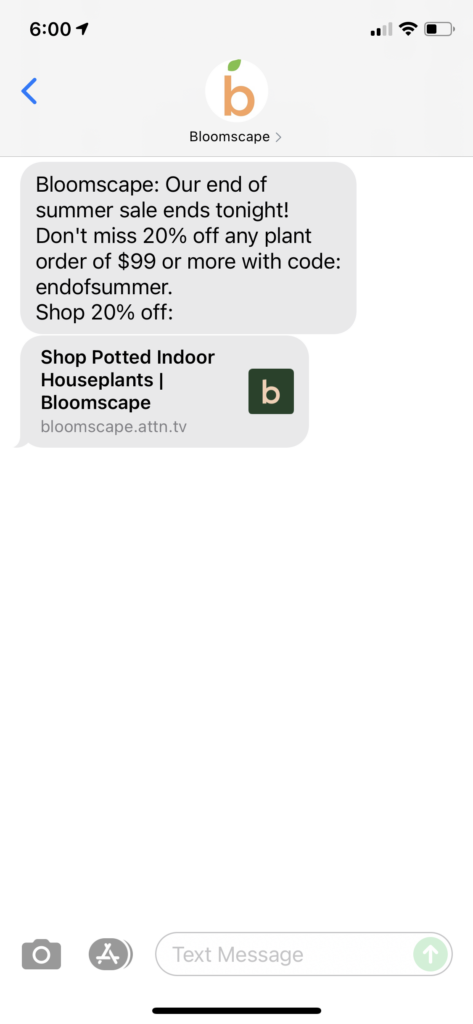 Bloomscape Text Message Marketing Example - 09.07.2021