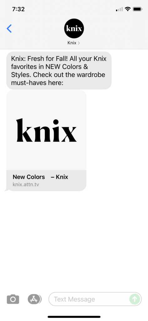 Knix Text Message Marketing Example - 09.11.2021