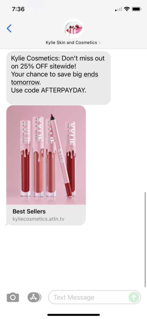 Kylie Skin and Cosmetics Text Message Marketing Example - 09.11.2021