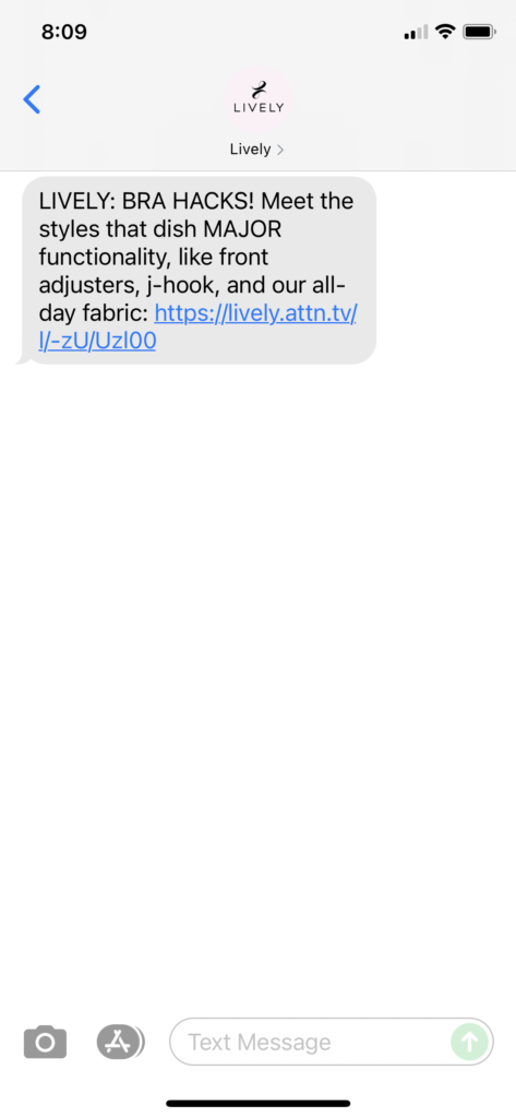 Lively Text Message Marketing Example - 09.09.2021