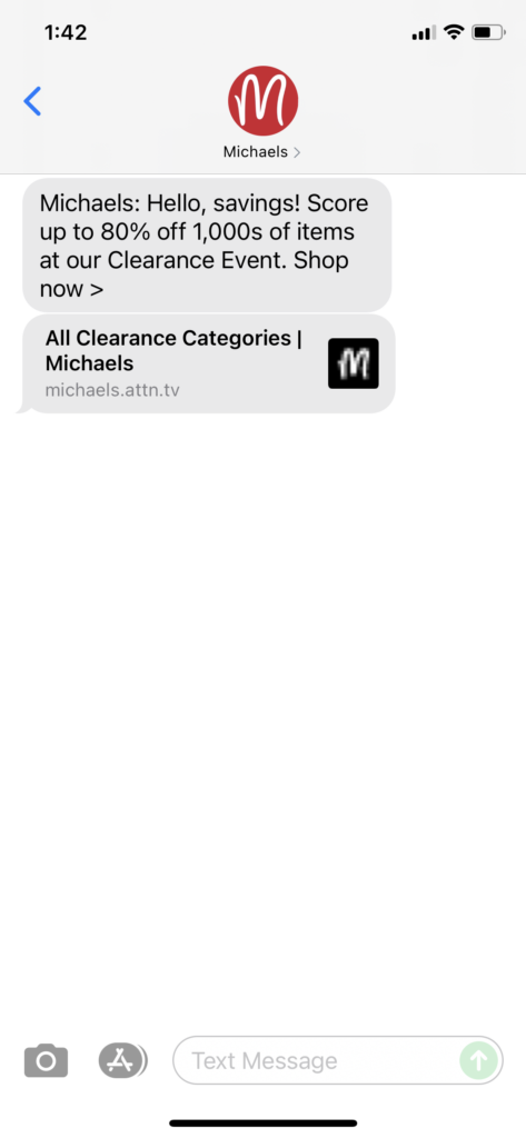 Michael's Text Message Marketing Example - 09.06.2021