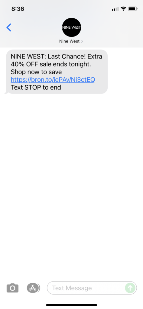 Nine West Text Message Marketing Example - 09.16.2021