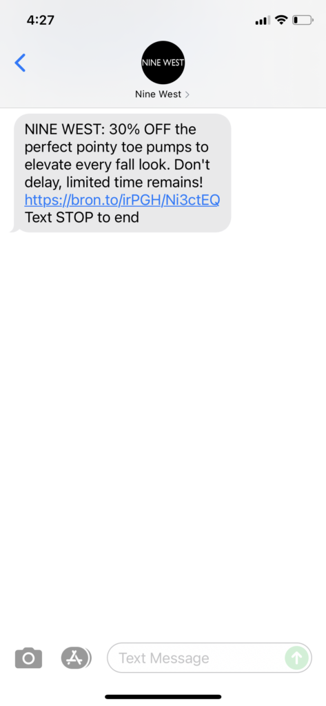 Nine West Text Message Marketing Example - 09.21.2021