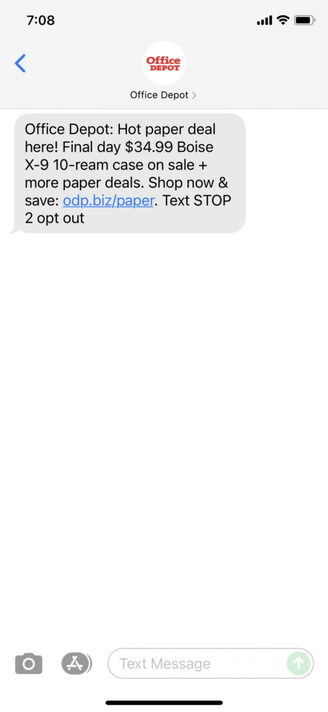 Office Depot Text Message Marketing Example - 09.21.2021