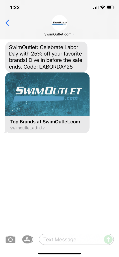 SwimOutlet.com Text Message Marketing Example - 09.04.2021