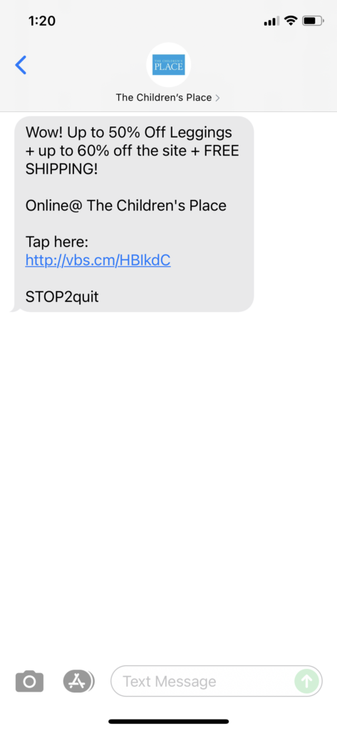 The Children's Place Text Message Marketing Example - 09.04.2021