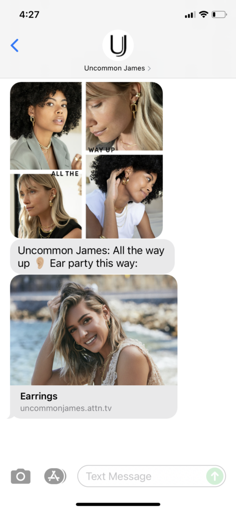 Uncommon James Text Message Marketing Example - 09.21.2021