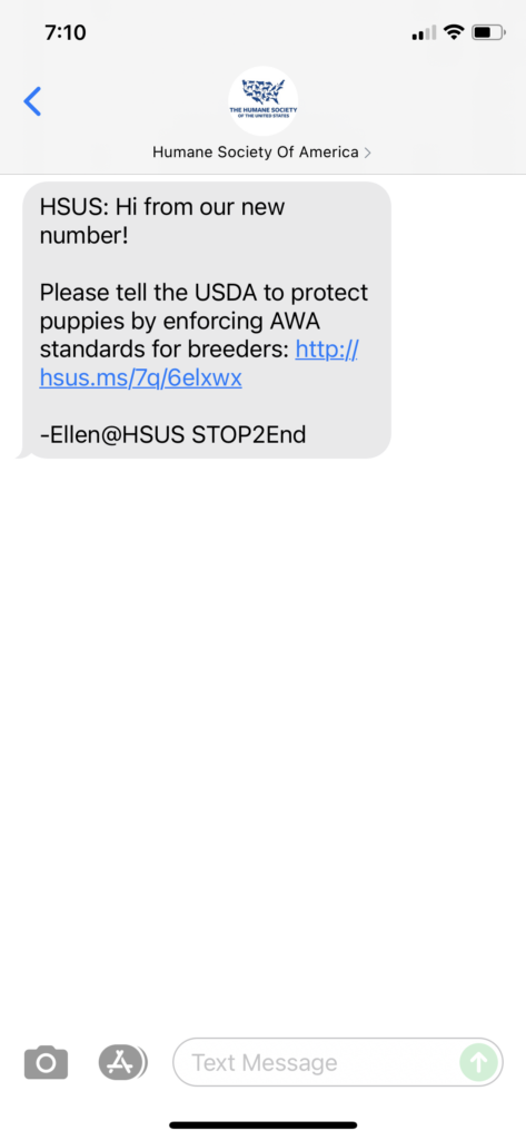 Humane Society of America Text Message Marketing Example - 10.08.2021